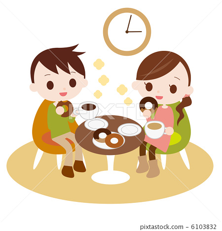 Male and female dating at a cafe 6103832