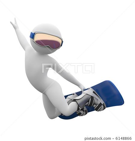 3d human - snowboarding 6148866