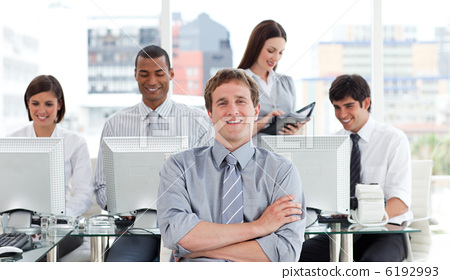 Portrait of a successful business team at work 6192993