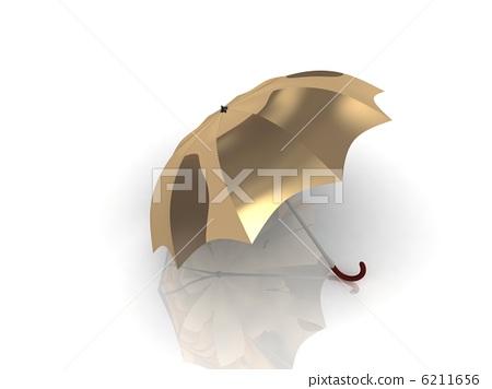 golden umbrella with wooden handle 6211656