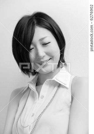 가련한 여성 (흑백 미인 일본 미인 일본식) 6276902