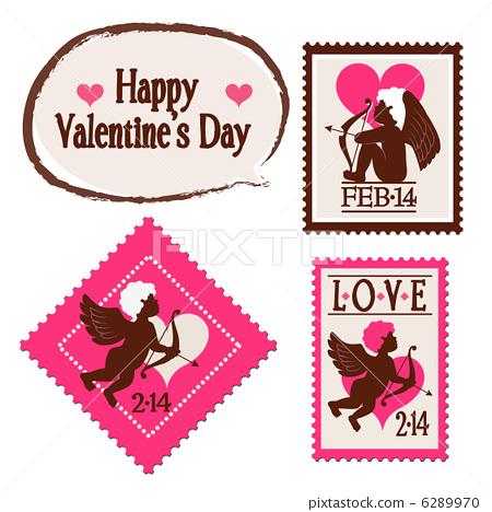 Valentine Cupid Illustration Stamp Valentine's Day 6289970