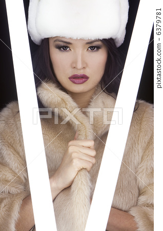 Beautiful Sexy Japanese Asian Girl In Fur Coat and Hat 6379781