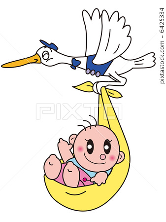 Stork carrying baby 6425334