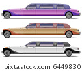 Vector set of old-styled realistic limousines isolated on white 6449830