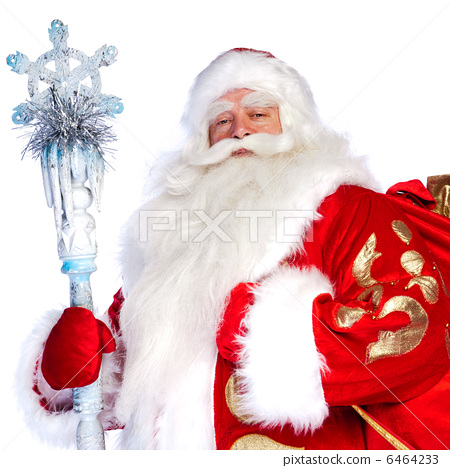 A traditional Christmas Santa Clause with staff isolated on whit 6464233