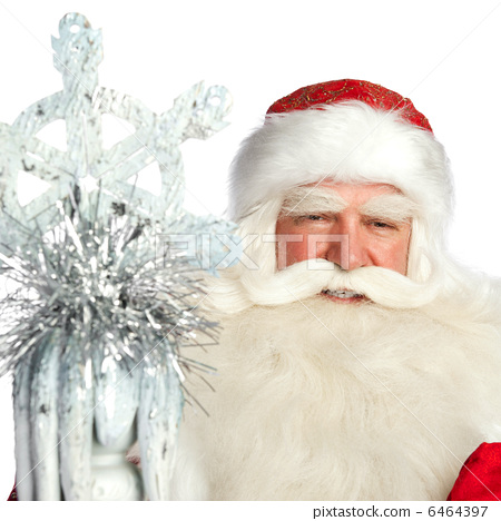 A traditional Christmas Santa Clause with staff isolated on whit 6464397