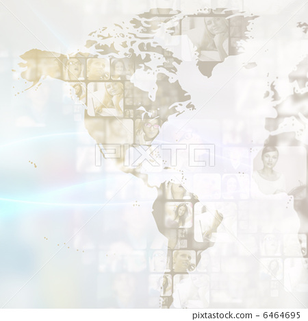 Portrait of young businessman. Standing against world map with p 6464695