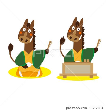 Horse · Rakugo / upper rakugo 【Animal illustration / occupation】 6517001