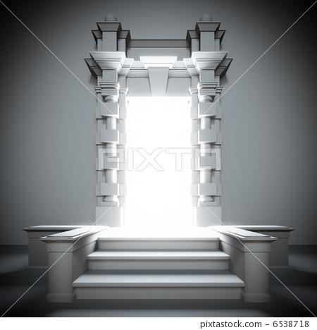 White portal to future with bright light. 6538718