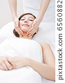 A woman receiving facial beauty treatment 6560882