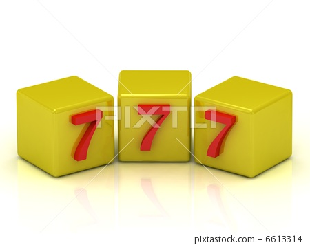 Lucky number seven on the yellow cubes 6613314