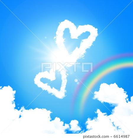 하늘에 떠있는 하트 모양의 구름과 무지개 6614987