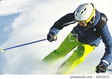 Stock Photo: skiing on fresh snow at winter season at beautiful sunny day