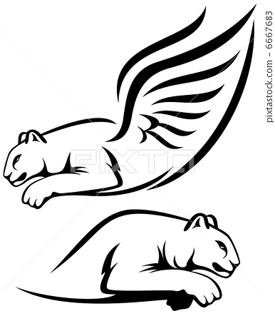 Winged Lion And Cougar Vector Outline Black Stock Illustration 6667683 Pixta Cute lion line icon cute lion outline vector. pixta