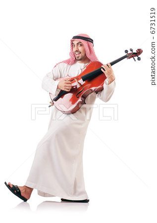 Arab man playing violin isolated on white - Stock Photo