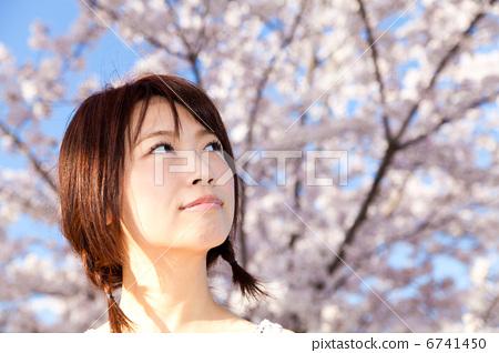 계절은 봄 (4 월의 벚꽃) 마파람과 맑은 벚나무와 노는 미소녀 6741450