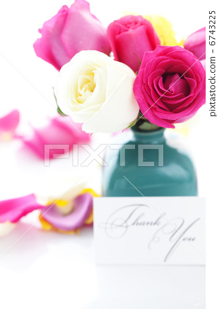 bouquet of colorful roses in vase,petals and card with the words 6743225