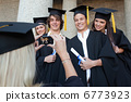 Close-up of a blonde graduate taking a picture of her friend 6773923