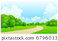 Curved path over green landscape 6796013