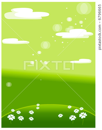 Green meadow with white flowers 6796665
