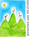 Three  Alpine ibexes, child's drawing, watercolor painting on paper 6815086