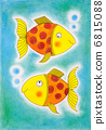 Two golden fish, child's drawing, watercolor painting on paper 6815088