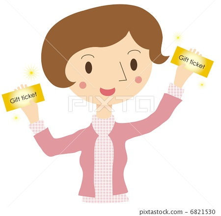A woman holding a gift certificate 6821530