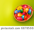 Easter background with Easter eggs and flowers with basket. Vect 6878566