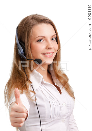 Beautiful young laughing cheerful woman and headphones with mic 6905550