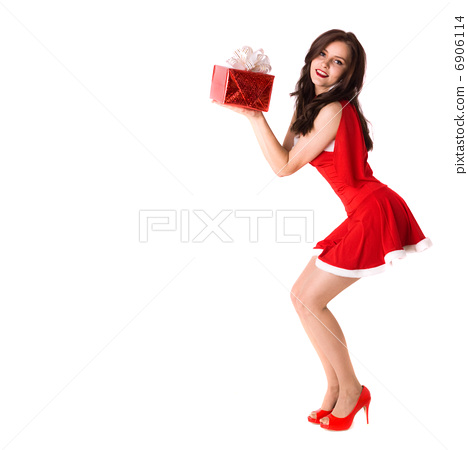 smiling woman in red xmas sexy costume with gift 6906114