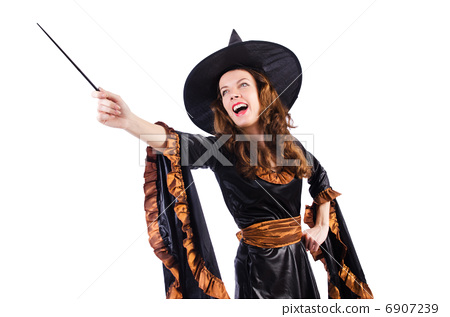 Witch with wand isolated on the white 6907239