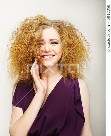 Pleasure. Happy Face of Frizzy Redhead Woman. Joy 6912359