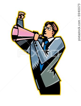 Close-up of man holding megaphone 6940073