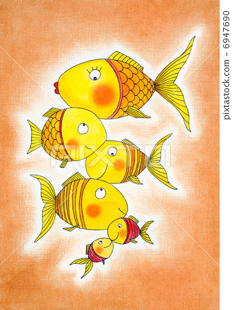 Group of gold fish, child's drawing, watercolor painting on paper 6947690