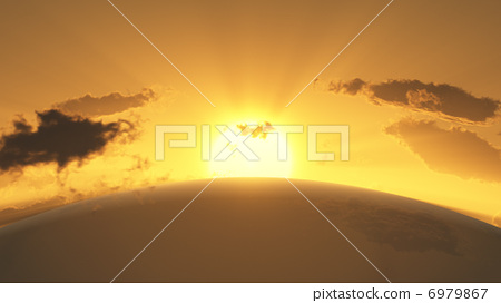 A 3D rendered image depicting the sun setting in a curved horizontal line 6979867