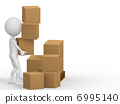 3d people carrying cardboard boxes. 6995140
