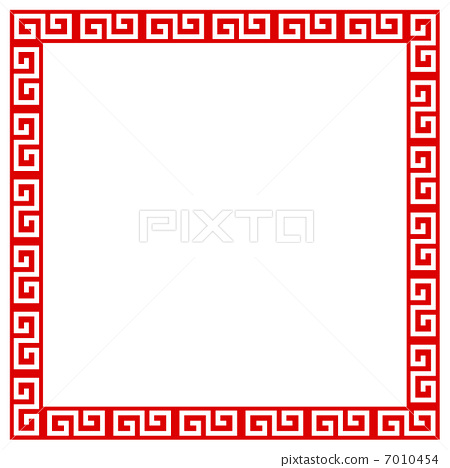 chinese pattern, flame, frame - Stock Illustration [7010454] - PIXTA