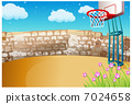 Basketball on playground 7024658