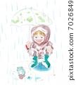 有伞和青蛙的女孩 7026849