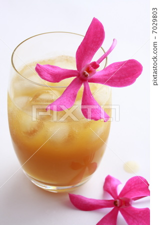 Fruit juice and orchid flowers 7029803