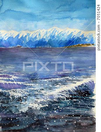 Water sketch of Tateyama mountain peak 7051424