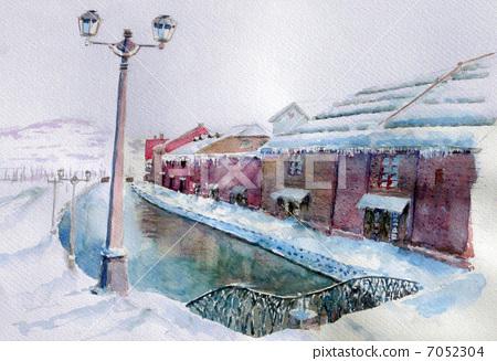 Snow Otaru Canal sketch painting 7052304