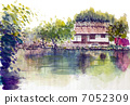 A sketch picture of a thatched roof house 7052309