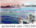 Morning sketch painting of Seto Ohashi Bridge 7052343