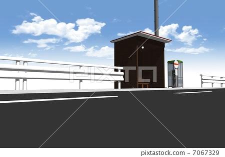 Stock Illustration: path stop, blue sky, public transportation