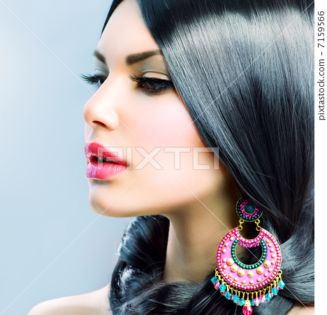 Stock Photo: Beauty Woman With Long Black Hair. Hairstyle