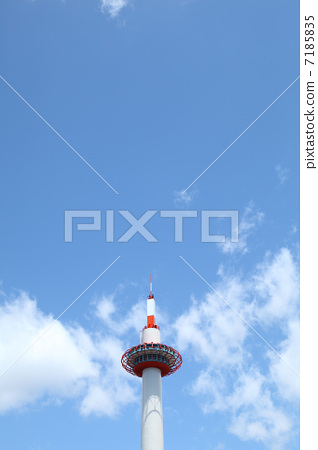 Kyoto Tower blue sky and clouds 7185835