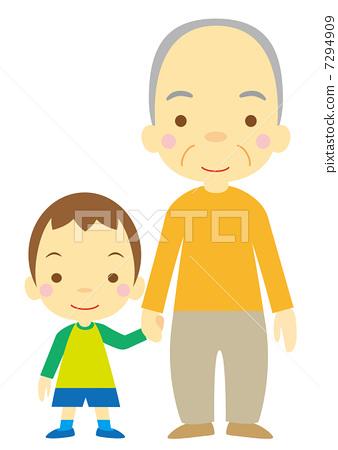 Grandpa and grandchild (boy) 7294909