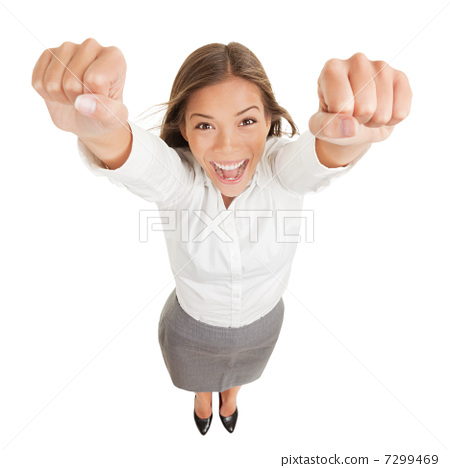 Happy jubilant you woman cheering 7299469